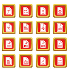 File format icons set red vector