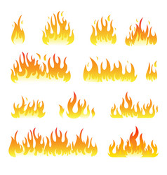 Fire flames set isolated on white vector