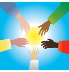 Five hands different races vector