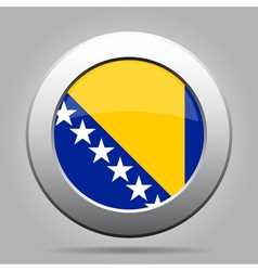 Flag of Bosnia and Herzegovina metal round button vector