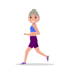 flat cartoon old woman running jogging vector image
