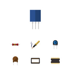 Flat icon electronics set of receptacle vector