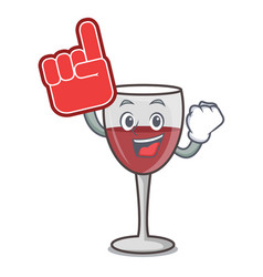 Foam finger wine mascot cartoon style vector
