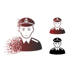 Fractured dot halftone captain icon vector