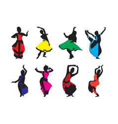 Free navratri dance silhouettes set vector