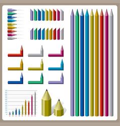 Full color pencil design for graph vector