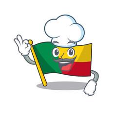 Funny chef flag benin scroll cartoon character vector