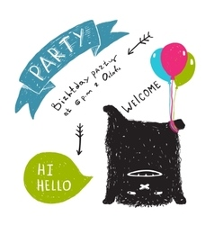 Funny Cute Little Black Monster Party Greeting vector