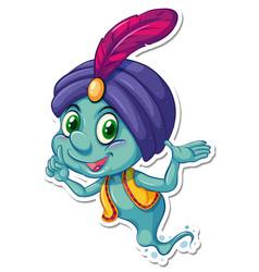 Genie in aladdin cartoon character sticker vector