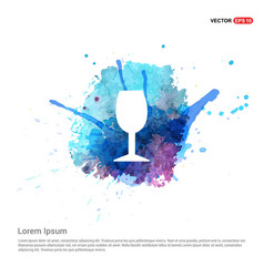 Glass icon - watercolor background vector