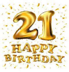 golden number twenty one metallic balloon party vector image