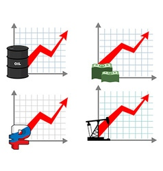 Graph growth of wealth set Red up arrow Increased vector image