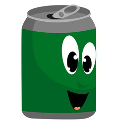 green can on white background vector image