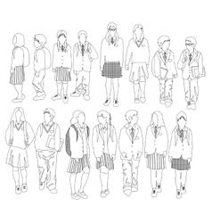 Group walking students vector