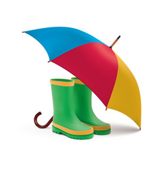 gumboots and open umbrella rain green boots vector image