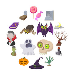 halloween cartoon icons vector image
