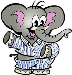 Hand-drawn of an Happy Baby Elephant in Pajamas vector