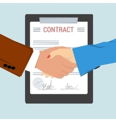Handshake - on background contract sheet vector