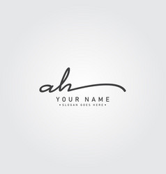 Handwritten signature logo initial letter ah vector