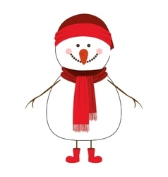 happy snowman cartoon icon image vector image