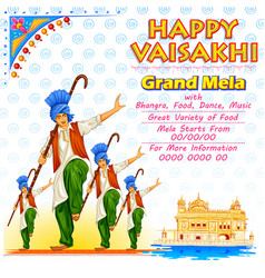 Happy vaisakhi punjabi spring harvest festival of vector