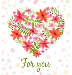 heart made watercolor flowers vector image