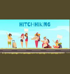 hitchhiking cartoon vector image