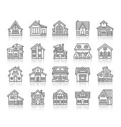 House cottage simple black line icons set vector