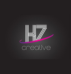 Hz h z letter logo with lines design and purple vector