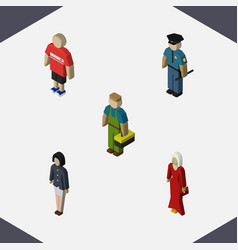 isometric people set of guy plumber officer and vector image