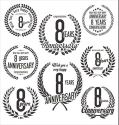 laurel wreaths anniversary collection 8 years vector image
