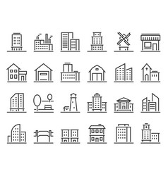 line buildings icons city building hotel vector image