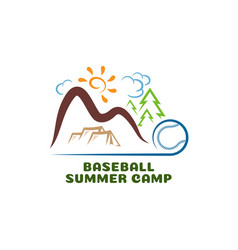 logo baseball summar camp fun cartoon logo vector image