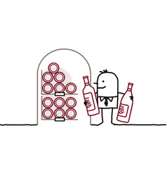 Man in cellar bottles of wine vector