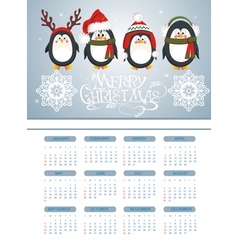 Merry Christmas card with penguins vector