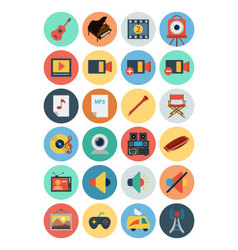 Multimedia Flat Icons 5 vector image