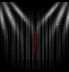 Opened black stage curtain vector