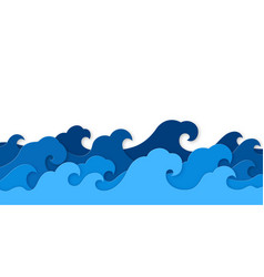 paper sea waves blue water wave paper vector image