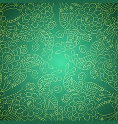 pattern with outlines flowers and leaves vector image
