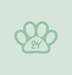 Pet paw 24 hours a day hand drawn numbers vector image