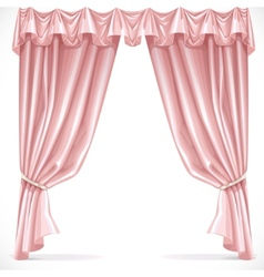 Pink curtain draped with pelmet isolated on a vector image