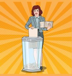 pop art business woman utilises paper documents vector image