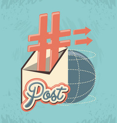 Post social media with envelope vector