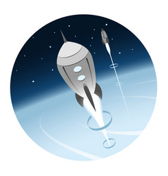 Rockets going into space round icon vector