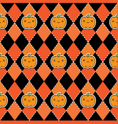 Seamless halloween pattern with pumpkins on argyle vector