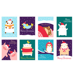 Set christmas gift tag badge with cute animals vector