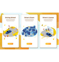 set driving school learning exams license vector image