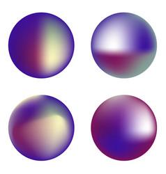 set holographic circles vector image