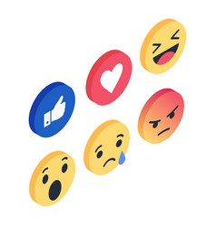 set isometric emoji reactions like social vector image