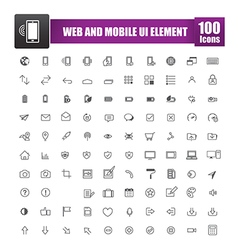 Set of 100 icon for web and mobile smart phone ui vector